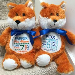 Personalised Soft Toy Animal Cubbie Fox